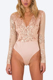 Pink Embroidered Sequin Bodysuit