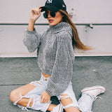♡ Oversized Turtleneck sweater knitting Wool Jumper ♡ - Crystalline