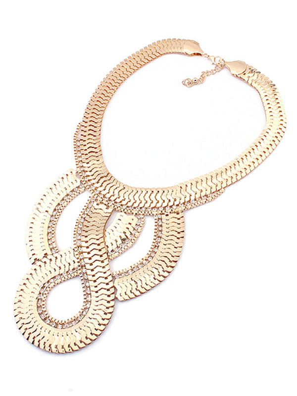 * Statement Necklace * Golden Twist Chunky Chain Necklace - Crystalline