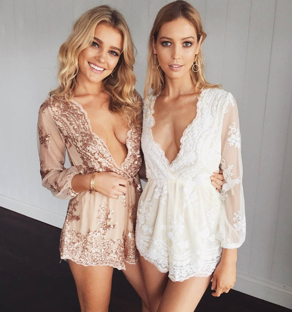 660b1ede75fa ♡ Gold Sequin Embroidery Party Elegant Jumpsuit Romper ♡ – Crystalline