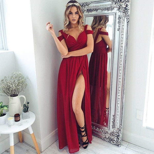 ♡ Red Off The Shoulder Maxi Dress ♡ - Crystalline