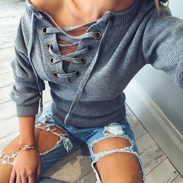 ♡ Flare sleeve knitted sweater Casual loose knitwear ♡ - Crystalline