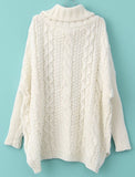 Fall Fashion White Oversized Long Sleeve Turtleneck Chunky Cable Knit Sweater - Crystalline