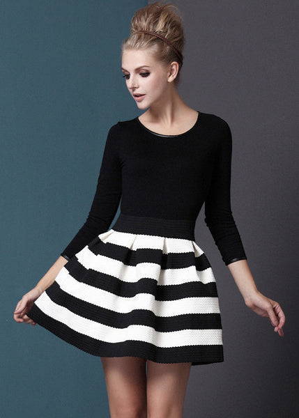Black White Striped Three Quarter Length Sleeve Stripe Dress - Crystalline