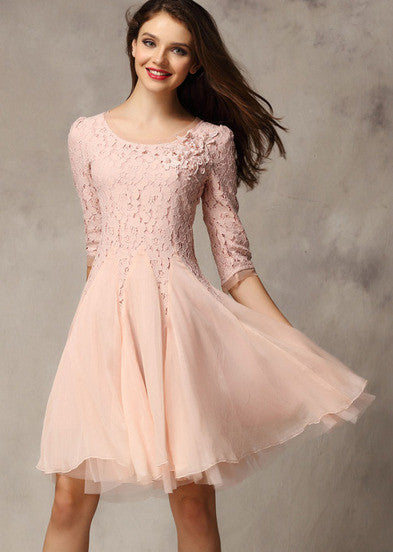 Pink Coctel Half Sleeve Lace Bead Chiffon Babydoll Dress - Crystalline