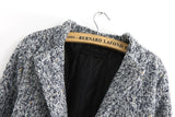 Grey Long Sleeve Single Button Tweed Coat