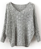Sweater Grey Soft V Neck Hollow Fall Winter Fashion Sweater - Crystalline