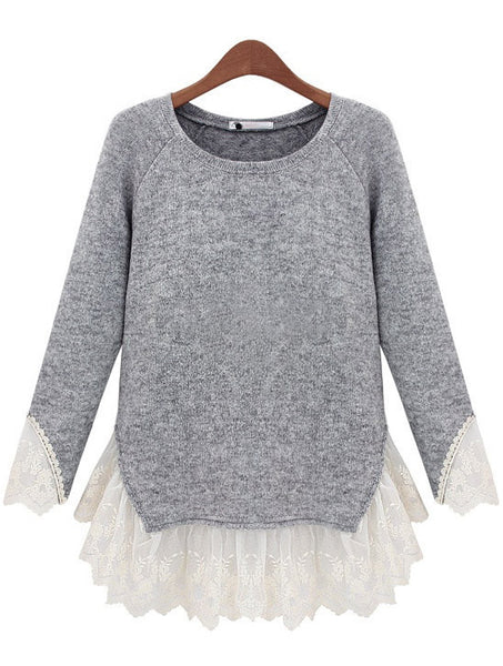 Fall Fashion Grey Long Sleeve Contrast Lace Knit Sweater - Crystalline