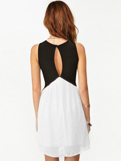 Black White Deep V Neck Hollow Chiffon Dress - Crystalline