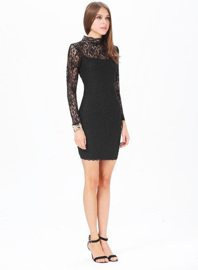 Sophisticated hour black lace long sleeve bodycon dress