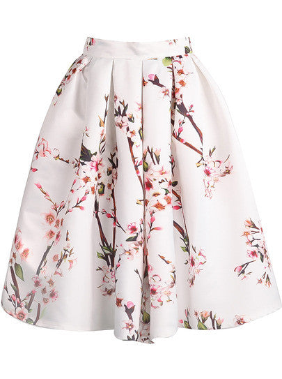 White Floral Pleated Skirt - Crystalline