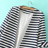Fall Fashion Navy White Striped Long Sleeve Fitted Blazer - Crystalline