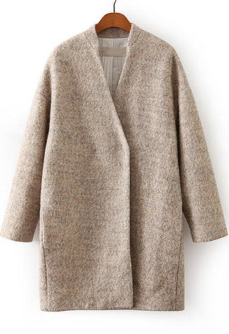 Apricot Long Sleeve Loose Woolen Coat - Crystalline