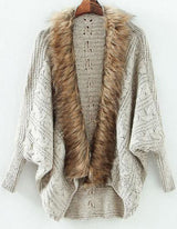 Fall Fashion Grey Batwing Long Sleeve Contrast Fur Knit Cardigan - Crystalline