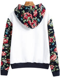 White Hooded Contrast Floral Loose Sweatshirt - Crystalline