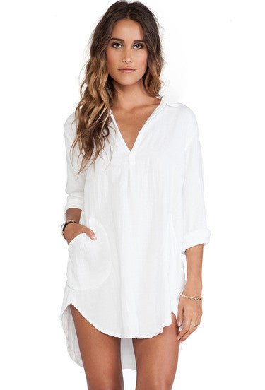 White Long Sleeve Loose Shirt Dress - Crystalline