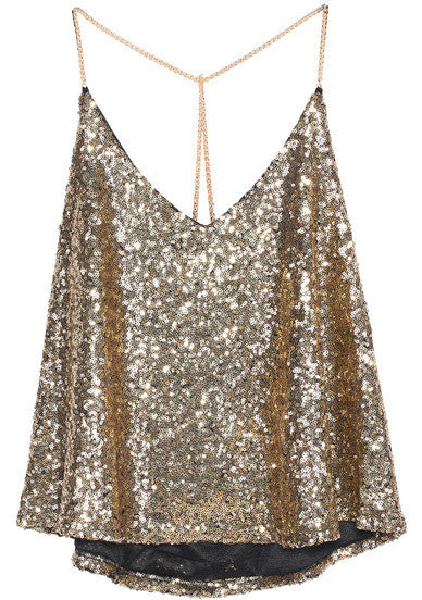 Gold Criss Cross Sequined Cami Top - Crystalline