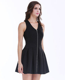 Black Sleeveless V Neck Zippered Pleated Dress - Crystalline