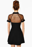 Black Contrast Transparent Sheer Mesh Hollow Dress - Crystalline
