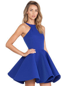 Fall Fashion Blue Sleeveless Halter Flare Dress - Crystalline