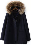 Navy Faux Fur Hooded Pockets Woolen Coat - Crystalline