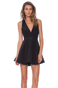 Black Sleeveless V Neck Flare Dress - Crystalline