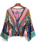 Multicolor V Neck Tribal Print Crop Blouse - Crystalline