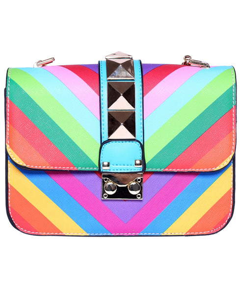 Patchwork Buckle PU Shoulder Bag - Crystalline