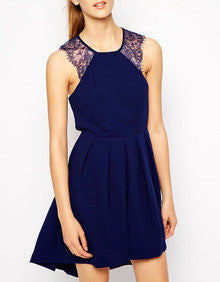 Blue Crossback Sleeveless With Lace Pleated Dress - Crystalline