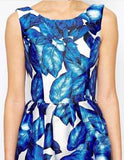 Blue Sleeveless Leaves Print Dress Wedding / Party - Crystalline