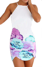 Floral Dress Spring - White Spaghetti Strap Backless Hibiscus Floral Dress - Crystalline