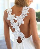 White Flower Lace Criss Cross Back Mini Dress - Crystalline