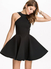 Fall Fashion Black Halter Backless Flare Dress - Crystalline
