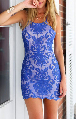 Blue Spaghetti Strap Backless Lace Embroidered Bodycon Dress - Crystalline