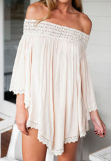 Boho Apricot Off the Shoulder Panelled Loose Dress - Crystalline