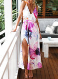 Floral Dress Spring - Multicolour Spaghetti Strap Painted Elegance Backless Split Floral Dress - Crystalline
