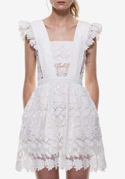 White Lace Flounces Shoulder Hollow Flare Dress Wedding Homecoming Party Dress - Crystalline