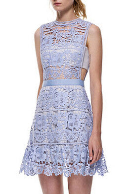 Blue Side Hollow Lace A-Line Dress Wedding Homecoming Party Dress - Crystalline