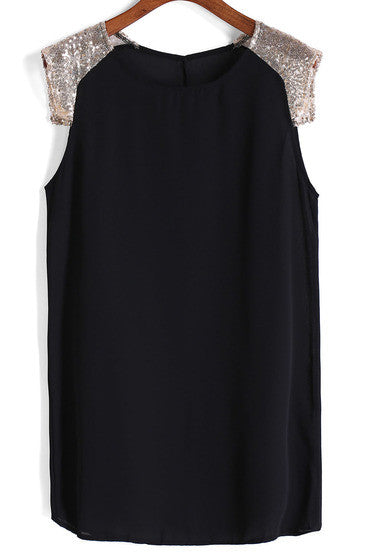 With Sequined Shift Chiffon Black Dress - Crystalline