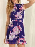Floral Dress Spring - Blue Sleeveless Floral Patterned Print Dress - Crystalline