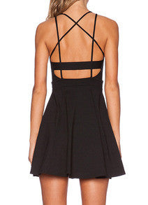 Black Crossback Reverse Criss Cross Backless Pleated Dress - Crystalline