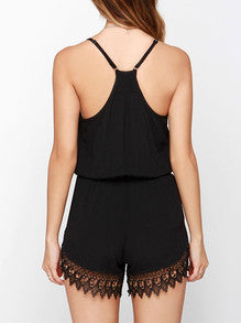 Black Spaghetti Strap V Neck With Lace Playsuit - Crystalline