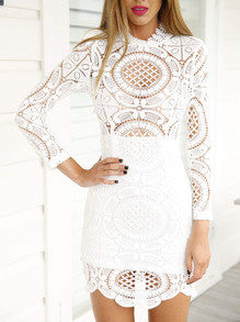 White Long Sleeve Hollow Lace Dress - Crystalline