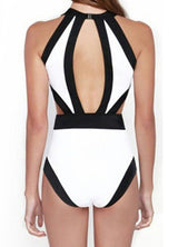 White Halter Contrast Trims Hollow Swimwear - Crystalline