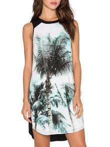 Multicolour Sleeveless Inch Trees Print Dress - Crystalline