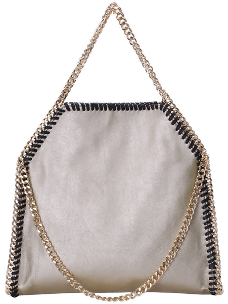 Gold Chain PU Shoulder Bag - Crystalline