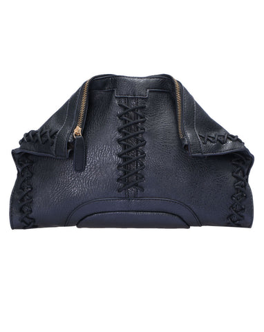 Black Rivet Metal Buckle Shoulder Bag - Crystalline