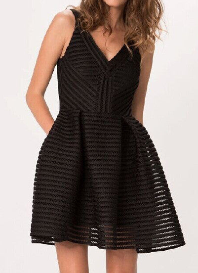 Black V Neck Sleeveless Hollow Striped Dress - Crystalline