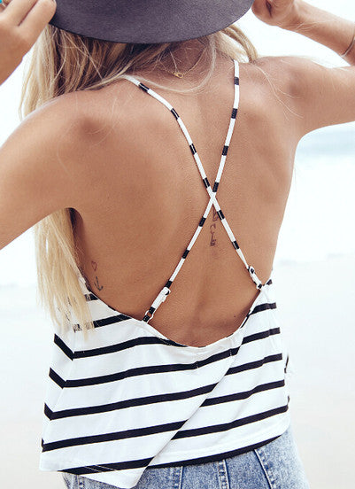 Black White Criss Cross Back Striped Cami Top - Crystalline