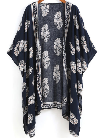 Floral Dress Spring - Fall Fashion Navy Vintage Floral Loose Kimono - Crystalline